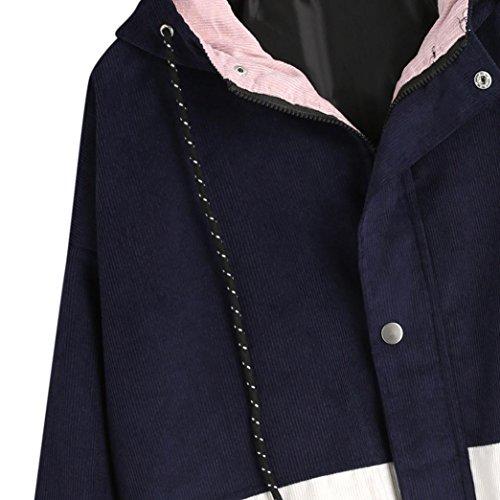 Veste Courte OHQ Coutures En Velours CôTelé Femmes à Manches Longues En Velours CôTelé Patchwork Surdimensionné Zipper Jacket Windbreaker Coat Pardessus Marine