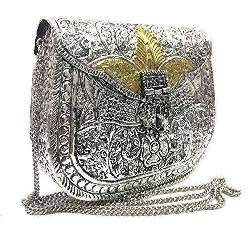 d69f14528 Bolso para mujer fiesta embrague embragues de metal blanco Vintage hecho a  mano de metal bolso