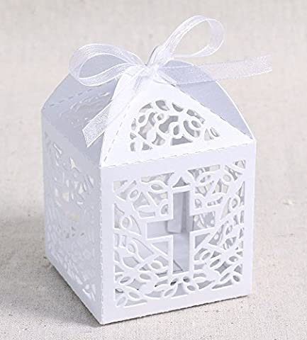 50 Pack White Cross Laser Cut Hollow Favor Gift Box Christening Baby Shower Party Bomboniere Favors with