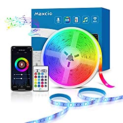 Alexa LED Streifen Lichtband 5m, Maxcio Smart RGB Led Strip mit Fernbedienung, LED Band Lichterkette, Kompatibel mit Alexa, Google Home, Smart Life App, Sync mit Musik für Party, Weihnachten