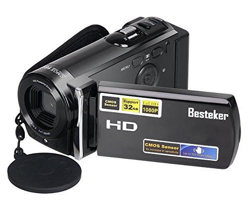Kamera Camcorder, Besteker FHD Digitale Videokamera Max. 16,0 Megapixeln 16X Zoom 1920 × 1080P mit 2,7 Zoll TFT-LCD-Bildschirm (Schwarz)