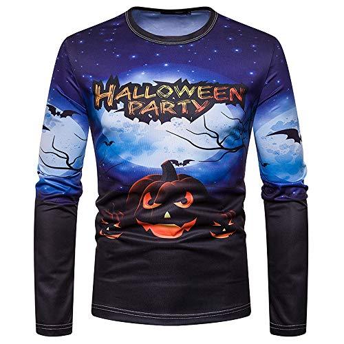 ZIYOU Male Happy Halloween Pullover Herren Langarm Sweatshirt Casual Urlaub Streetwear Druck Top Männer Frühling Herbst Winter (XL,Blau)