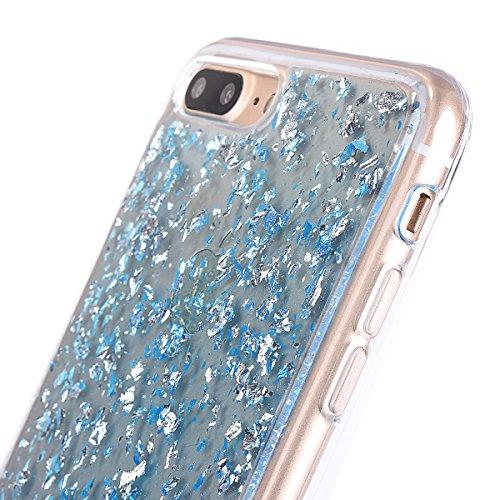 """Housse pour Apple iPhone 7Plus 5.5""""(NON iPhone 7 4.7""""), CLTPY 3D Coloré Scintillement Placage Bordure Case, Ultra Léger Mince Hull de Protection Absorption des Choques pour iPhone 7Plus + 1x Stylet -  Bleu"""