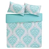 Senna Printed Duvet Cover Set Double Size -Grey & Aqua & Large Damask Pattern - 3 Pics Ultra Soft Hypoallergenic Microfiber Quilt Cover Sets