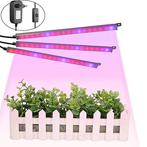 LED Pflanzenlampe, GLIME Pflanze Licht Pflanzenleuchte 18LEDs Grow Licht 9.6W Pflanzenlicht Wachstumslampe für Gewächshaus Grow Box Treibhaus Zimmerpflanzen 3PCS
