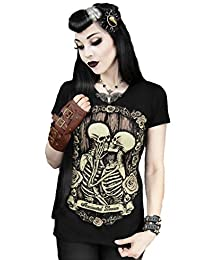 RestyleImmorttal Lovers Skeleton Emo Gothic Psychobilly Ladies T Shirt Top