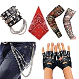 Aperil Punk Gothic Rocker Kit 70s 80s 90s Costume Accessories with Skull Trousers Key Chain Leather Bracelet Punk Gloves Arm Fake Tattoo Sleeves Cover Hip-hop Waist Jeans Tide Party Cool Packs