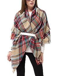 Abrigo de la bufanda del mantón de la tela escocesa de Cozy Chequeado Mujeres Señora Manta