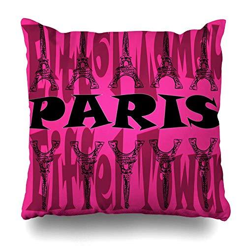 Monicago Zierkissenbezüge, Throw Pillow Covers, Square Throw Pillow case, Pink Paris Eiffel Tower On City Attraction Black Design Grunge Home Decor Pillowcase Square Size 18
