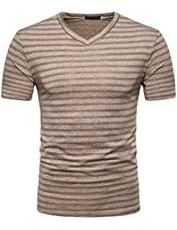 Mens T Shirts,Mens Shirts Short Sleeve,Mens Shirts Casual,Mens Tops,Men Shirt New Look,Moonuy Men Casual Stripe Print V Neck Short Sleeve Fashion Handsome T Shirt Top Blouse
