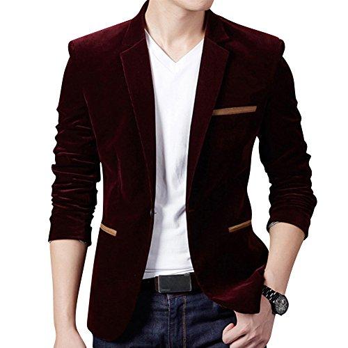Uomo Casuale Un pulsante Cappotto Velluto a Coste Slim Fit Giacca Blazers Outwear Vino Rosso