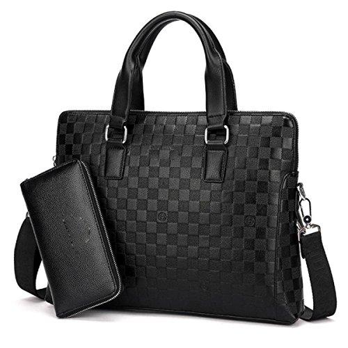 BUKUANG Geprägte Gitterhandtasche Männer Schulter Geschäft Aktenkoffer Paket Horizontale Absatz Messenger Tasche Computer Tasche,Brown2 Black1