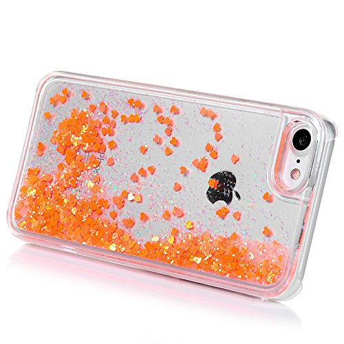 "Mavis's Diary Coque iPhone 7 (4.7"") PC Rigide Tangerine Bling Cœur Housse de Protection Étui Téléphone Portable Phone Case Cover+Chiffon orange"