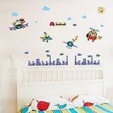 Jaamso Royals 'Animals Giraffe Bear Pilote and City ' Wall Sticker (PVC Vinyl, 70 cm X 50 cm, Kids Room Stickers)