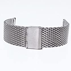 A-Szcxtop:Stainless Steel Reticular System Watch Band Strap Straight End Solid Links