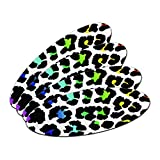 Leopard Spots Animal Print Rainbow On White Oval Nail File Emery Board 4 Pack