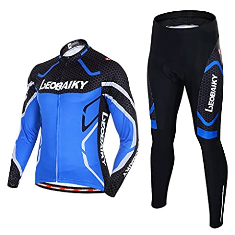 Leobaiky Spring Autumn Winter Mens Cycling Clothing Set Sportswear Suit 0utdoor Sports Bicycle Bike Long-sleeved Cycling Jerseys and Pants (Blue, UK/EU M (Asia L))