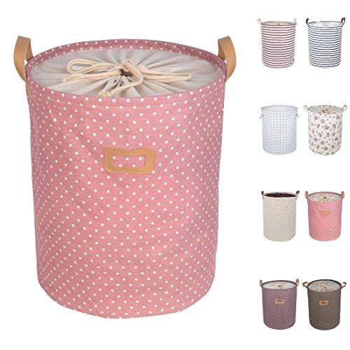 """DOKEHOM DKA0811PKL2 19,7"""" grand entrepôt de panier (17"""" et 19"""" pouces), le panier de linge jouets souples cordon square (rose, L)"""