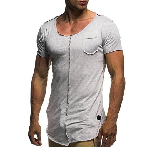 VEMOW Sommer Mode Persönlichkeit Männer Casual Täglichen Training Schlank Kurzarm-Shirt Top Bluse Pullover Pulli Tops für Vatertag Geschenk(Grau, EU-58/CN-2XL)