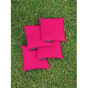 4 Cornhole Säckchen pink (Granulat oder Mais), 15 x 15 cm, 400g (oder 250g) – Top Qualität made in Germany, handgemachte…