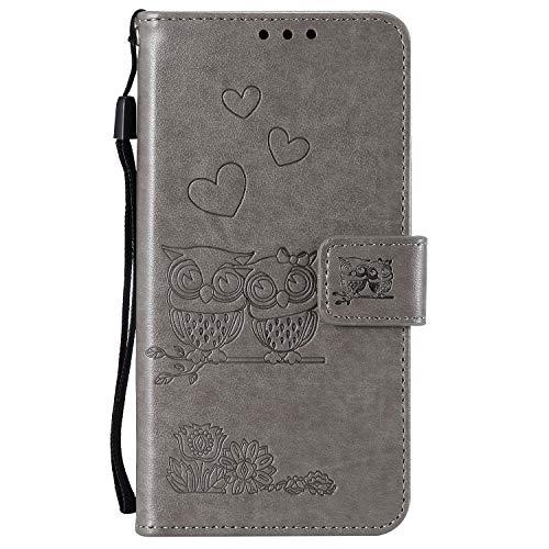 Miagon für Samsung Galaxy A30 Hülle,Geprägt Eule Blumen Herz Muster Pu Leder Ständer Flip Schutzhülle Tasche Brieftasche Etui mit Magnetverschluss Kartenhalter