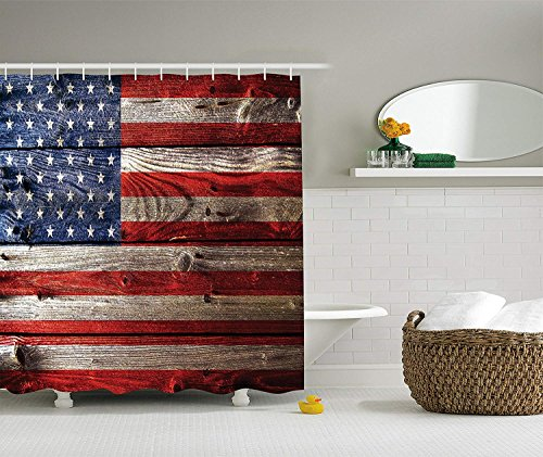 BUZRL American Flag Shower Curtain Decor, Country Emblem Painting on The Weathered Retro Wooden Looking Print, Polyester Fabric Bathroom Shower Curtain Set with Hooks, Blue Red,66x72 inches