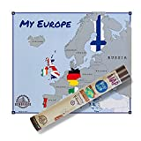 scratchable Map Europe Flags | Version Flaggen | die einzige Karte Scratch Map Made in Italy | Karte Europas Kratzpapier | Reisen und Gratta via Staaten Die Sie besucht ihre Schlafstil Karte.