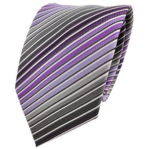 XXL Designer Krawatte lila anthrazit grau silber schwarz gestreift - Binder Tie