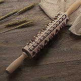 Wisfruit - Rodillo de madera con grabado láser, para hornear, cocina, fondant, pastelería, pizza, cocina Elk-fba
