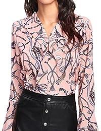 Oyedens Sommer Blusen, Bluse Damen, Chiffon Elegant Bluse Hemd Aus  Fließendem Stoff Leicht Langarmshrit V-Ausschnitt T-Shirt für Alltag… cba8182e72