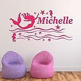 Sticker personalizzato della parete del vinile della sirena, murale, decalcomania - qualsiasi nome (Mermaid Design)