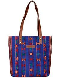 Kalamargam Collective Desert Weave & Vegan Leather Tote Bag (Multi-Coloured, KC-TB37) - B07FMCHJQZ