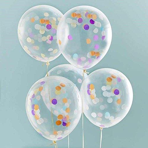Geburtstag Luftballon Konfetti 5 Stck. bunt (Konfetti Gefüllte Ballons)