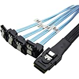 CableDeconn 50cm Mini SAS 36 P SFF-8087 para 4 SATA 7 pin 90 degrees blanco Cable de datos disco duro