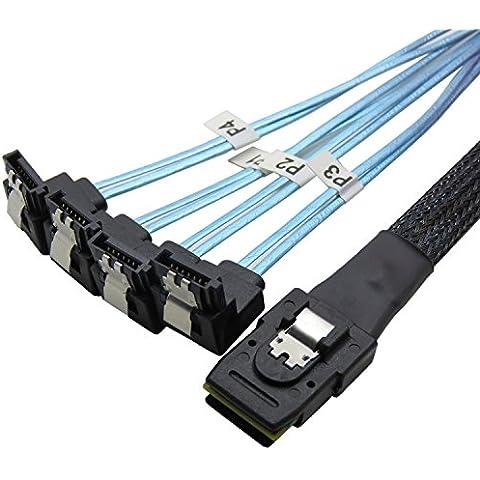 CableDeconn 50cm Mini SAS 36 P SFF-8087 para 4 SATA 7 pin 90 degrees blanco Cable de datos disco