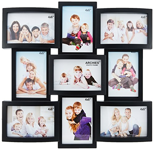 JaipurCrafts Premium Collage Photo Frame (Photo Size - 4 x 6, 9 Photos) (Black)