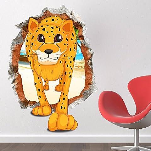Cartoon dekorative Malerei Schlafzimmer Wohnzimmer Fernseher Sofa Hintergrund HD-Dimensionalen 3D Wall Sticker Blume Wallpaper (Leopard), 58 x 81 (Hd Weihnachten Wallpaper)