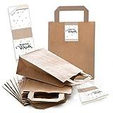 25 braune Papiertüten Geschenk-Tasche Weihnachtstüten Boden 18 x 8 x 22 cm kleine Papiertaschen + Weihnachts-Aufkleber Wunderbare Weihnachten Geschenk-Verpackung give-away
