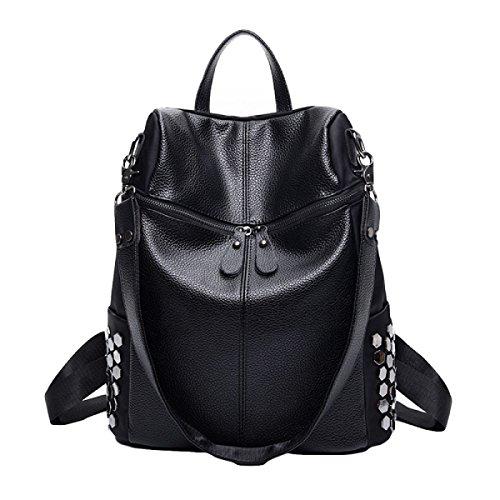 Klassische Wilde Umhängetasche Nylon Leder Damen Rucksack Black