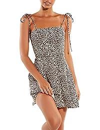 5843358ebd12e5 Vimoli Kleider Damen Damenmode Damen Open Leopard Splice Kleid Print  Lässige Bind Zipper Dress