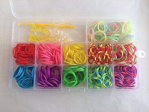 Ateamart Kit de Loom Bandz multicolores & Clips Collection 350 Bandz + 25fermoirs S-Clips + 1 crochet + 1 Y-métier à tisser 11 belles couleurs et 1 bonne boîte de rangement