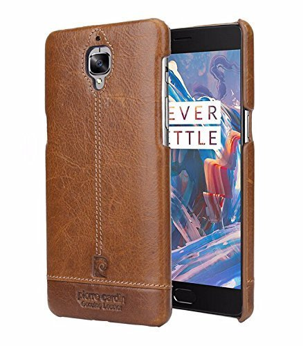 Pierre Cardin Genuine Leather back Cover For oneplus 3t (1+3) (Brown) by jazz