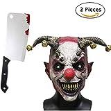Jonami Horror Clown Grusel Maske, Halloween Masken Herren, Schädel Skelett Teufel Dämon Zombie Maske mit Haaren, Deluxe Kostüm mit Gruseligem Messer Hackmesser