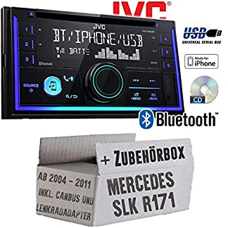 Mercedes-SLK-R171-inkl-Lenkrad-und-CanBus-Adapter-Autoradio-Radio-JVC-KW-R930BT-CD-Bluetooth-Android-Apple-MP3-USB-Einbauzubehr-Einbauset
