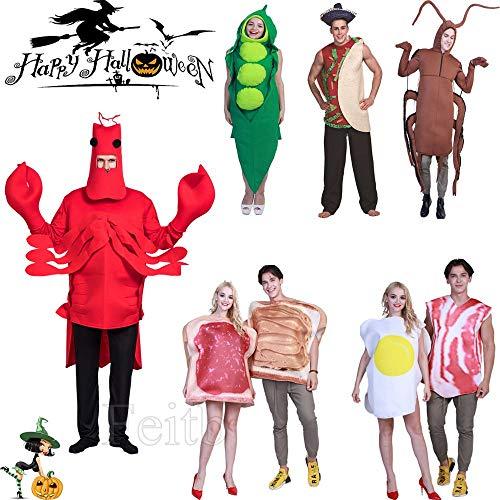 Halloween Cosplay Kostüme Bühnenkostüm Erwachsene/Kinder,Cosplay Kleidung Requisiten Bühnenkostüm, Halloween Parodie Kakerlake, Burritos, Erbsen, Hummer, Geister Ausdruck Cosplay Kleidung (F)