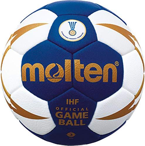 Top Wettspielball, Offizieller Spielball der IHF, sehr weiches Synthetik-Leder - Farbe: Blau/Weiß/Gold, Größe: 3 von Molten