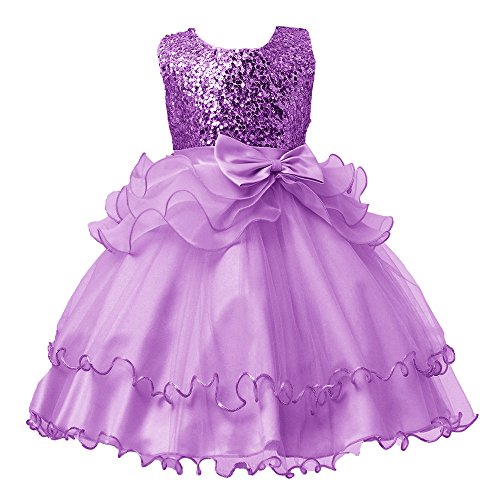 YEARNLY Mädchen ärmellose Schleife Pailletten Spitzenkleid Netz Tutu Kleid ()