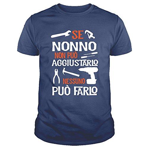 No0001 t-shirt uomo se nonno non può aggiustarlo nessuno può farlo festa del papa' (m, blu)