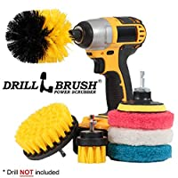 Drillbrush Power Scrubber Brush Set - Drill Brush Attachment - Grout Brush Drill Attachment - Drill Scrubber Attachment - Bathroom Cleaner Scrub Brush - Toilet Brush Cleaning Supplies - Grout Cleaner