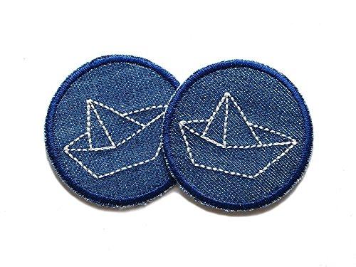 Set 2 Jeansflicken Papierschiffchen Patch gestickt Flicken zum aufbügeln -